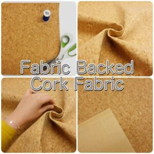 Natural Cork Fabric Backed Leather Handbag Craft Fabric SHEETS OR STRIPS