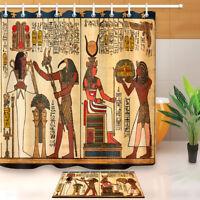 "Egyptian Antique Hieroglyphs Shower Curtain Hooks Bathroom Waterproof Fabric 72"""