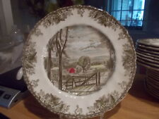 """Johnson Brothers FRIENDLY VILLAGE Large 10.5"""" Dinner Plate - HAYFIELD #2"""