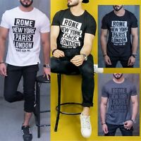 Mens Branded ROME NEWYORK PARIS LONDON Print Short Sleeve Crew Neck Tee T Shirt