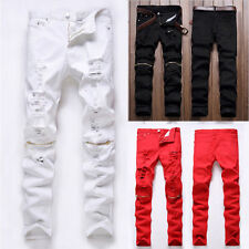 Men's Skinny Runway Straight Zipper Biker Denim Pants Destroyed Ripped Jeans UK
