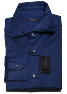$425 Cesare Attolini Blue Solid Pique Shirt - Slim - 16/41 - (CA707)