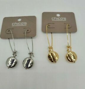 Chico's GOLD OR SILVER  DANGLE EARRINGS NWTS