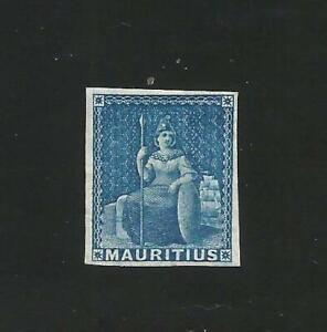 Mauritius 1858-62 blue. mint No gum , 4 fine margins