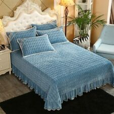 Quilting Bedsheet solid color Stitching Bedlinens Coverlet 3pcs Bedspread Set @