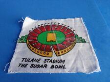 VINTAGE TULANE STADIUM SUGAR BOWL STAMPED ON CLOTH SCRAP- FRAMEABLE