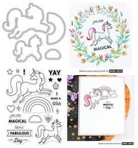 Unicorn Stamps & Dies, Rainbows, You Are Magical, Make a Wish - Hero Arts