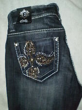 Cello Mid Stretch Flare Denim Dark Blue Jeans Size 2 X 35 New Embellished $99