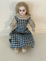 """Very Sweet Unmarked Antique Bisque Doll 13"""" Leather Body Wooden Lower Arms"""