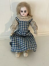 "Very Sweet Unmarked Antique Bisque Doll 13"" Leather Body Wooden Lower Arms"