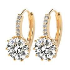 Elegant Yellow Gold Plated CLEAR Round CZ Crystal Hoop Earrings Jewelry UK Gift