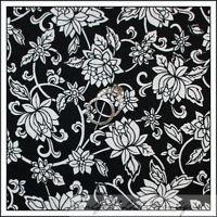 BonEful Fabric FQ Cotton Quilt B&W Black White Flower Small Calico Swirl Scroll