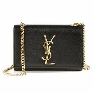 Black Leather Yves Saint Laurent YSL Kate Handbag with Gold Chain