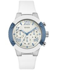 NEW GUESS Women's White Silicone Strap Watch 44mm U0772L3