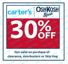 CARTER'S / OSHKOSH 30 % off coupon code (Valid through January 28, 2021)