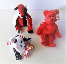 4th of July stuffed animals, decorations, ty beanie baby - set of 3