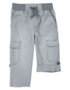 GYMBOREE ROCK THE WAVES DENIM ROLL-UP CARGO WOVEN PANTS 12 18 NWT