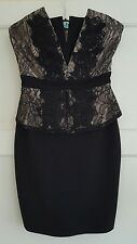 Stunning Black & Cream Lace Bodice Boob Tube Lipsy Dress With Peplum Sz 8 VGC!!