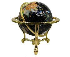 """Unique 21"""" Tall Black Ocean Tripod Gold Leg table Gem Gemstone World Map Globe"""