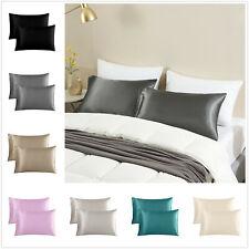 2 Pcs King Pillowcase Satin Silky Sofy Premium Cushion Cover Pillow Cases