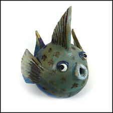 Large Blue and Turquoise Puffer Fish by Maggie Betley - Zoo Ceramics - Pottery