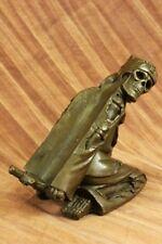 Handmade Skelton Laying Wine Holder Bronze Statue Sculpture FigureFigurine