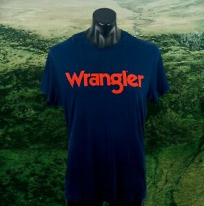 Men's WRANGLER t shirt size XL dark blue with red logo S/S 100% cotton casual