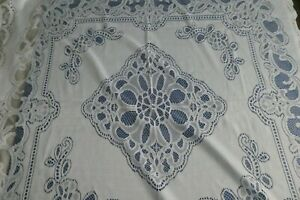 """Vintage/Retro White Lacey Style Terylene? Small Tablecloth appr. 44"""" x 44"""""""