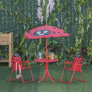 Kids Folding Picnic Table Chair Set Ladybug Pattern Outdoor w/ Parasol