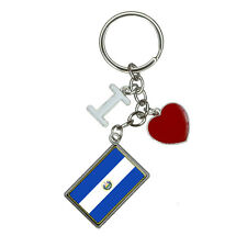 Flag of El Salvador I Heart Love Keychain Key Ring