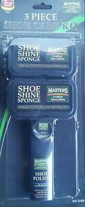 Instant 3 Pieces Shoe Care Kit 2 Shoe Shine Sponge 1 Shoe Polish (Black)