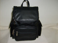 New Black Genuine Leather Zippered Backpack Style Purse Handbag