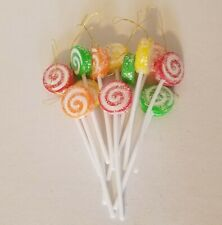 12 Vintage Artificial Sugared Lolly Pops Christmas Candy Decorations Ornaments