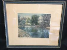 """Wallace Nutting Signed and Hand Tinted Signed Photo """"The Swimming Pool"""""""