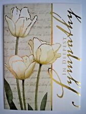 """IN DEEPEST SYMPATHY"" WHITE TULIPS GREETING CARD + DESIGNER ENVELOPE"