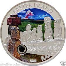 Easter Island Rapa Nui Moai  Silver Coin 5$ Cook Islands 2014