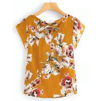 Womens Ladies Short Sleeve Boho Floral Blouse Loose Top Tie V Neck T Shirt Shirt