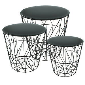 Set of 3 Round Nest Side Tables Black Glass Mirror Metal Wire Modern Living Room