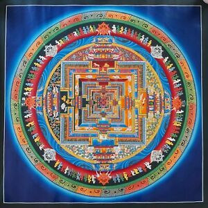 Large Genuine MasterPiece Tibetan Kalachakra Mandala  thangka Painting Buddha