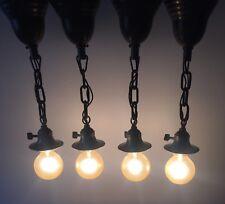 "Four 17"" Dark Brass Pendant Fixtures Antique Vintage Lot Of 4 Lights 31D"