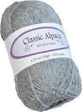 Classic Alpaca 100% Baby Alpaca Yarn #401 Liberty Gray 50g/110 yds DK Peruvian