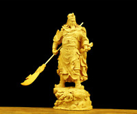 "7.9"" Chinese Box-wood Hand Carving Pine Tree Guan Gong Yu Warrior God Hold Sword"