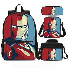 Marvel Superhero Iron Man Backpack Set Lunchbox Sling Bags Pen Bag Kids Gift Lot