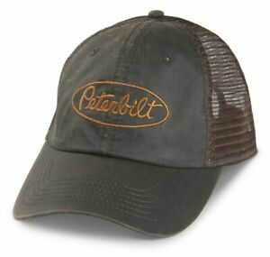 PETERBILT *BROWN WAXY COTTON* Trucker Mesh SNAPBACK LOGO HAT CAP * NEW!* PB08