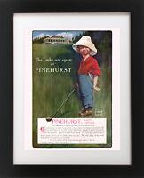 Antique PINEHURST Golf Course Hotel Club 1st DRIVE Golfing BOY Poster Art Print