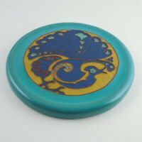 California Faience Peacock Trivet - Glazed Earthenware, Early 20th Cent. Signed
