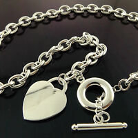 NECKLACE CHAIN REAL 925 STERLING SILVER S/F SOLID HEART PENDANT T'BAR DESIGN