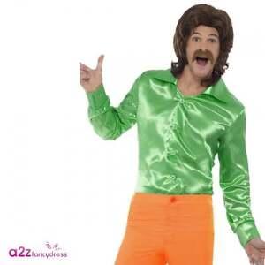 Mens Green Disco Shirt Adult 60's 70's Groovy Hippie Retro Adult Fancy Dress