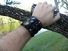 Bison Leather handmade wristband  cuff bracelet Men`s Watch Steam punk dual ti