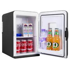 15L Portable Small Mini Fridge With Window For Bedroom, Mini Cooler In Black